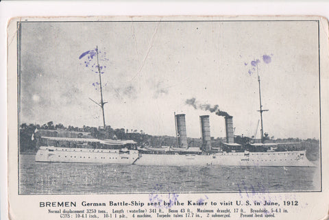 Ship, Boat or Steamer Postcard - BREMEN - German Battleship to US @1912 - C06712