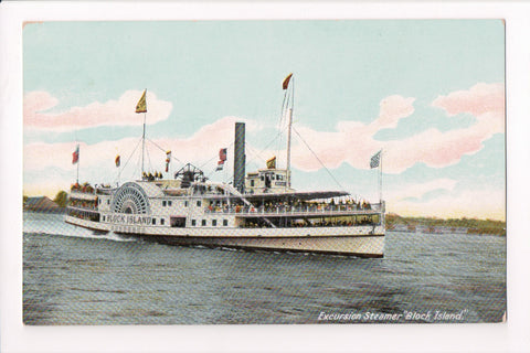 Ship, Boat or Steamer Postcard - BLOCK ISLAND - Excursion Steamer - F17028