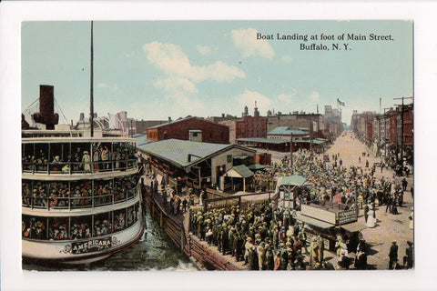 Ship, Boat or Steamer Postcard - AMERICANA - Main Street Buffalo - F17128