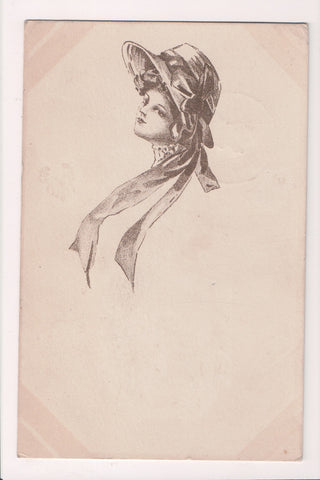 People - Female postcard - Pretty Woman - Sepia - Head Shot with hat - T00213