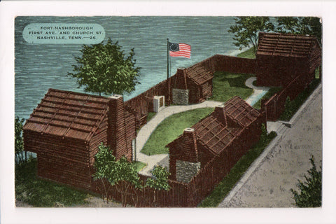 TN, Nashville - Fort Hashborough, @1959 vintage postcard - B17247