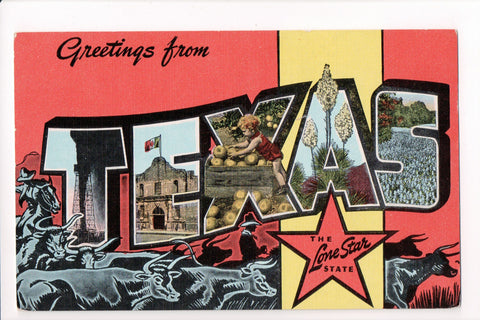 TX, Texas - Greetings from, Large Letter postcard - B08265