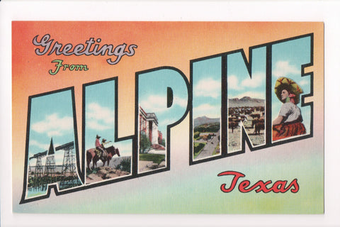 TX, Alpine - Greetings from, Large Letter postcard - C08588