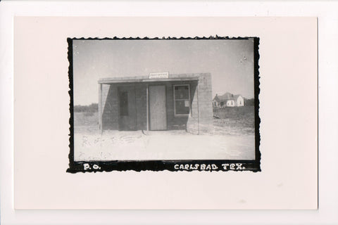 TX, Carlsbad - PO or Post Office Real Photo Postcard - F09280
