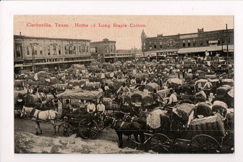 TX, Clarksville - Home of Long Staple Cotton, bunch of wagons etc - SL2708