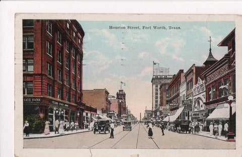 TX, Fort Worth - Houston Street - HEALY, KRESS, TX STATE BANK etc - C08211