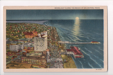 TX, Galveston - Moonlight along the beach postcard - CP0258