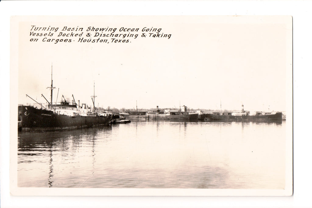 TX, Houston - Turning Basin, Dock - Real Photo Postcard - C17736