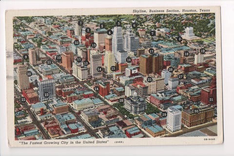 TX, Houston - Bird Eye view of Business Section with names - CP0255