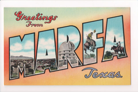 TX, Marfa - Greetings from, Large Letter postcard - C08569