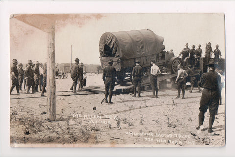 TX, McAllen - 7th NY Infantry unloading Motor Truck, army men - RPPC - C17220
