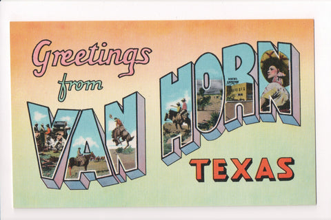 TX, Van Horn - Greetings from, Large Letter postcard - C08567