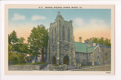 VA, Bristol - Emanuel Episcopal Church, vintage postcard - VA0005