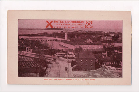 VA, Fortress Monroe - Hotel Chamberlin, Reservation St, PO, Moat postcard - R011