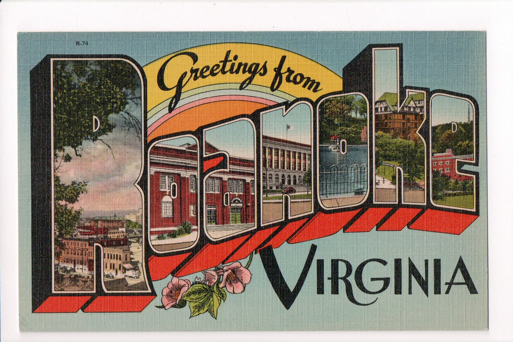 VA, Roanoke - Greetings from, Large Letter postcard - B08267