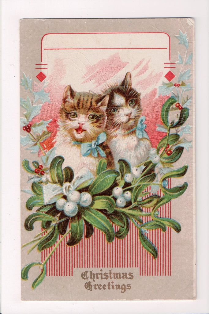 Xmas - Christmas Greeting - couple of cats - Winsch type back - VT0200