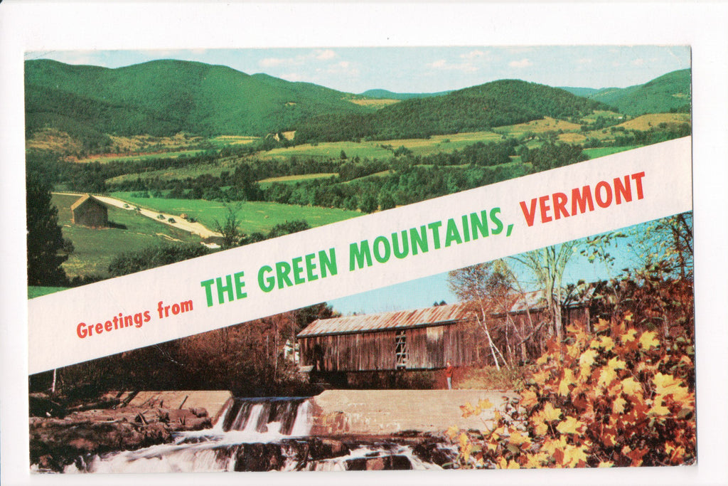 VT, Green Mountains - Greetings from, Large Letter postcard - B08149