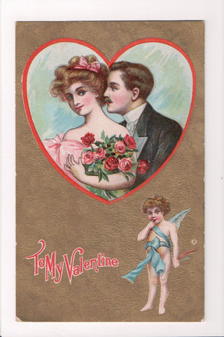 Valentine - To my Valentine - Couple in a heart, cupid postcard - B05475