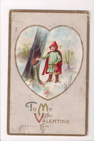 Valentine - boy dropping love letters into hole in tree - Nash postcard - B05476