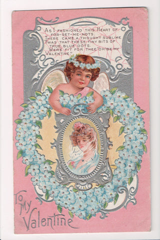 Valentine - To my Valentine - blue forget me nots wreath, cupid - B10101