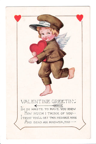 Valentine - Greeting, boy cupid in delivery uniform - Whitney Made - D08046