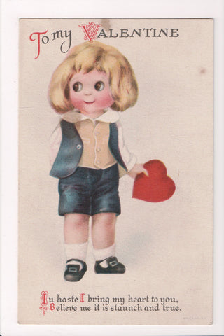Valentine - To my Valentine - wide eyed boy holding red heart - Clapsaddle? - D0