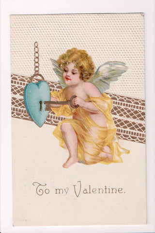 Valentine - To my Valentine - Cupid unlocking blue heart with key - E10296