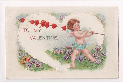 Valentine - To my Valentine - cupid holding a stick with little hearts - E10346