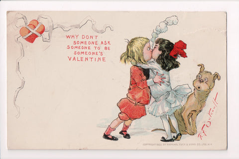 Valentine - boy and girl kissing with dog looking on - artist signed - SH7126