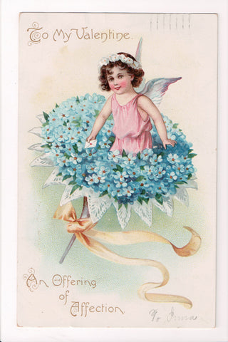 Valentine - To my Valentine - girl cupid in forget me nots - Tuck postcard - w02