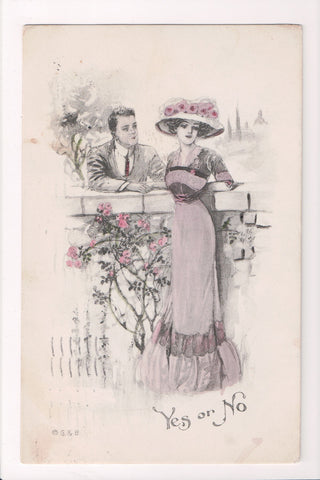Valentine - YES or NO, man with woman in large hat - G and B postcard - w02423