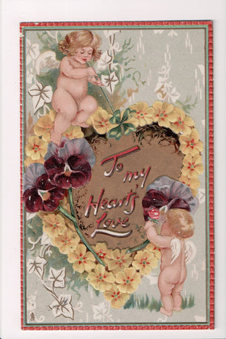 Valentine - To my Hearts Love - little cupids - Tuck LOVES PASTIMES #109 - W0248
