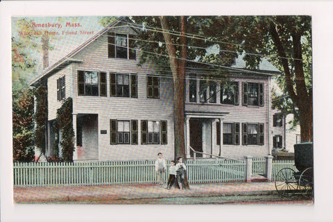 MA, Amesbury - Whittiers home on Friend St, kids out front - w00675