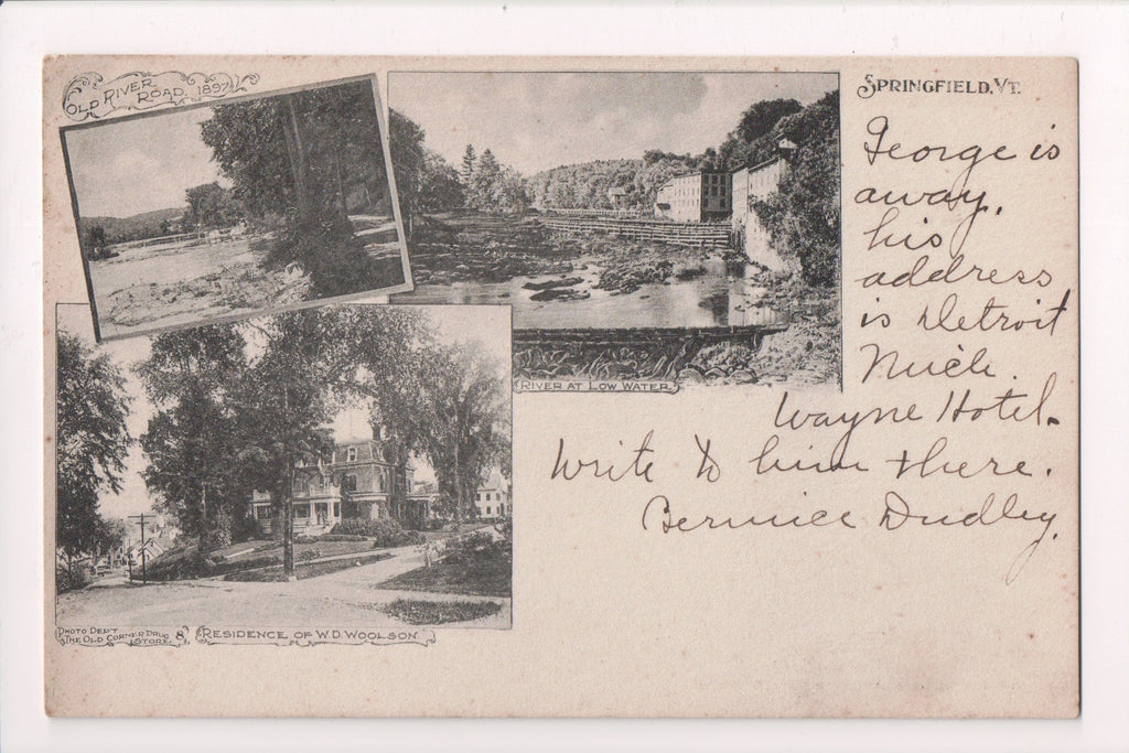 VT, Springfield - W D Woolson residence, River Road - @1908 postcard - w01267