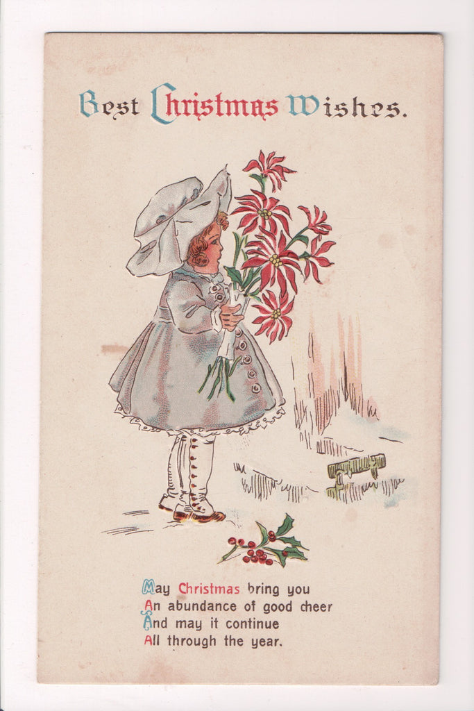 Xmas - Best Christmas Wishes - Winsch type back postcard - Girl - w02145