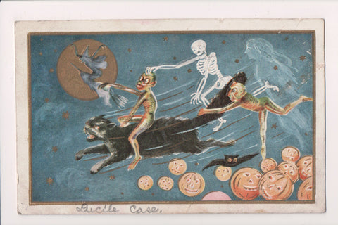 Halloween - Ghoul riding black cat, witch on broom, skeleton - w02742