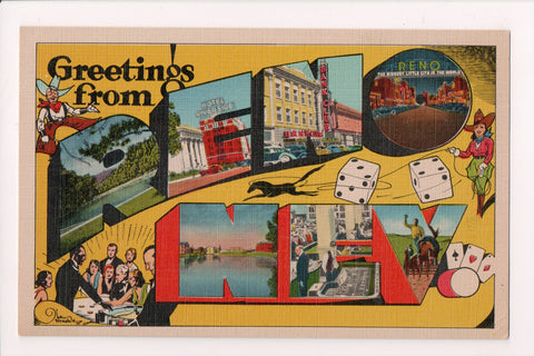 NV, Reno - Greetings from - Large Letter, Hotel Riverside, Dice - w03785
