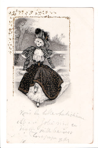 People - Female postcard - Pretty Woman - Colonial dressed in black - w04120