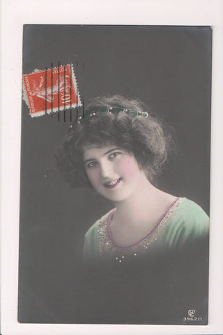 People - Female postcard - Pretty Woman - RPPC - hand colored - w04161