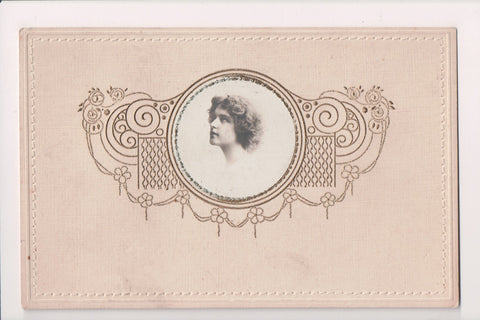 People - Female postcard - Pretty Woman - RPPC - Hand Embossed picture - w04278