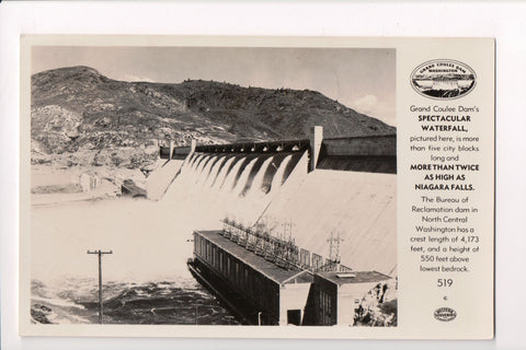 WA, Grand Coulee Dam - close up RPPC from @1950 - w00552