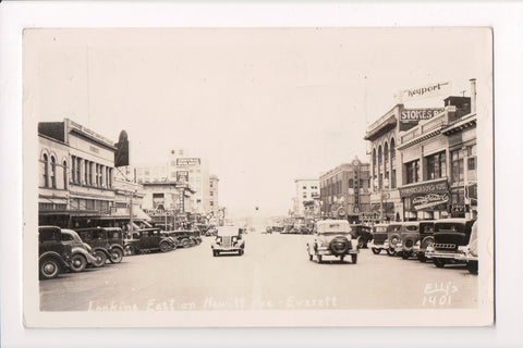 WA, Everett - Hewitt Avenue, Costellos, Pacific Hardware etc - RPPC - R00344
