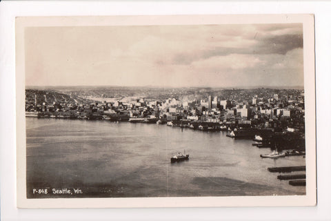WA, Seattle - BEV of City from above water - RPPC - B06065