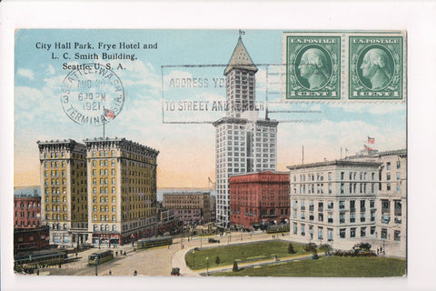 WA, Seattle - City Hall Park, Frye Hotel, LC Smith Bldg - CP0188