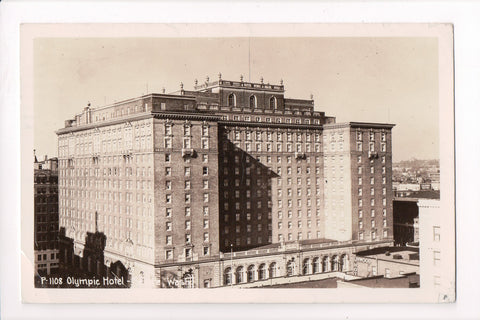 WA, Seattle - Olympic Hotel, with other signs - RPPC - F09064