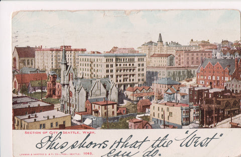WA, Seattle - Section of City Birds Eye View - ca 1905 postcard - w02852