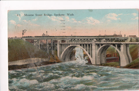 WA, Spokane - Monroe Street Bridge, @1925 side view postcard - K06089