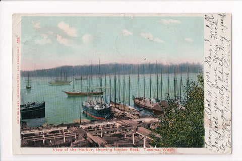 WA, Tacoma - Harbor view, showing lumber fleet - @1905 postcard - C17226