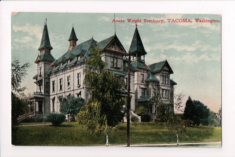 WA, Tacoma - Annie Wright Seminary - @1910 postcard, closeup view - E10432
