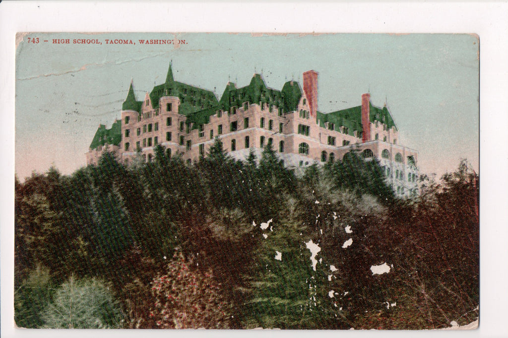 WA, Tacoma - High School - cr0395 - postcard **DAMAGED / AS IS**